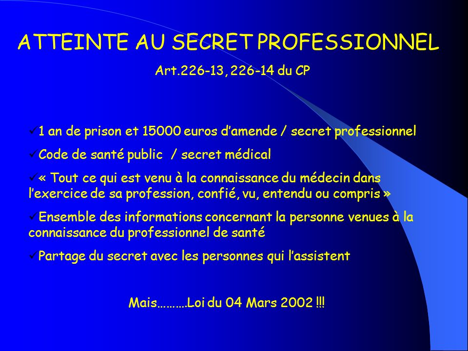 ATTEINTE AU SECRET PROFESSIONNEL