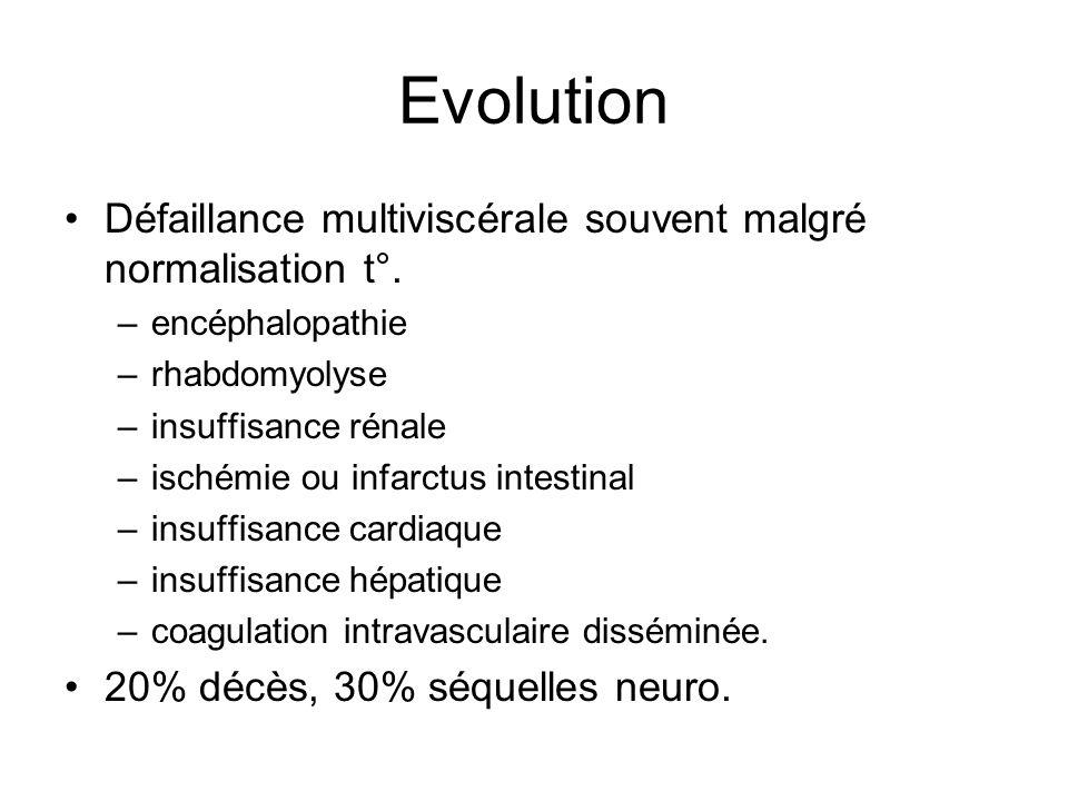 Evolution Défaillance multiviscérale souvent malgré normalisation t°.