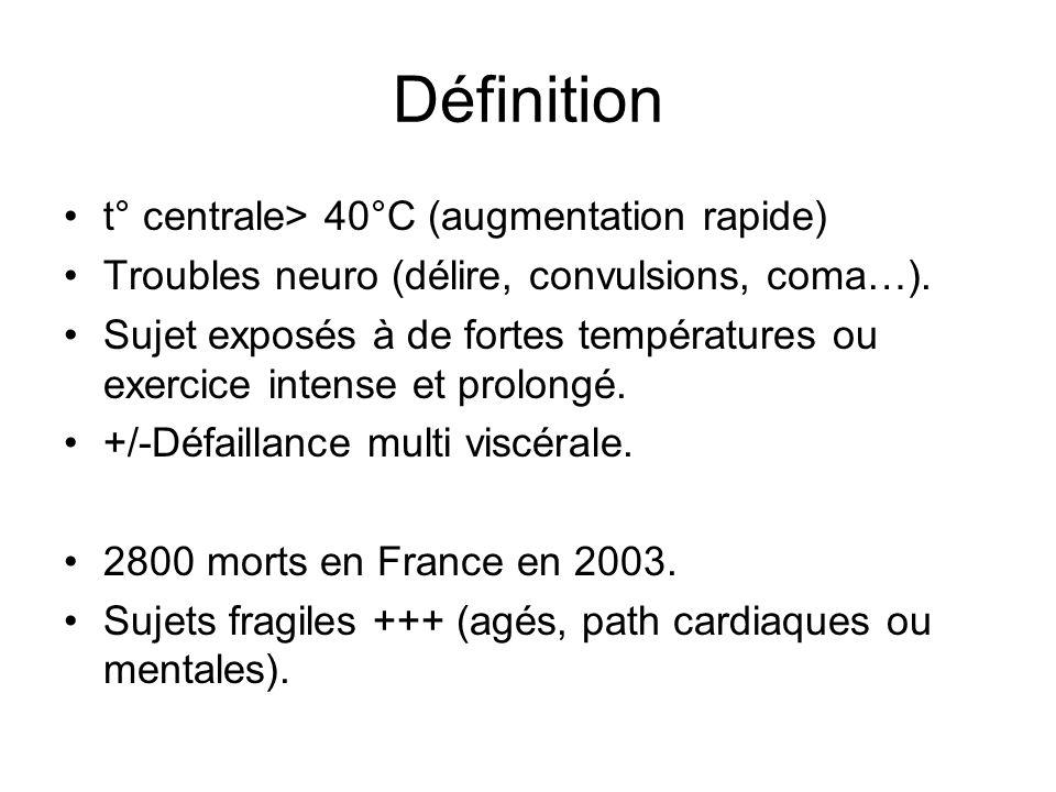 Définition t° centrale> 40°C (augmentation rapide)