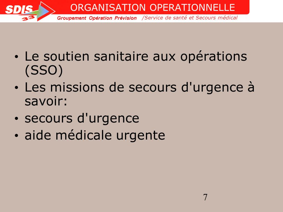ORGANISATION OPERATIONNELLE