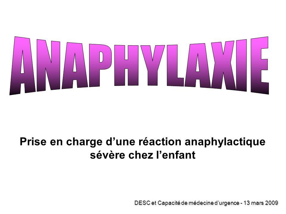 Prise en charge d'une réaction anaphylactique sévère chez l'enfant
