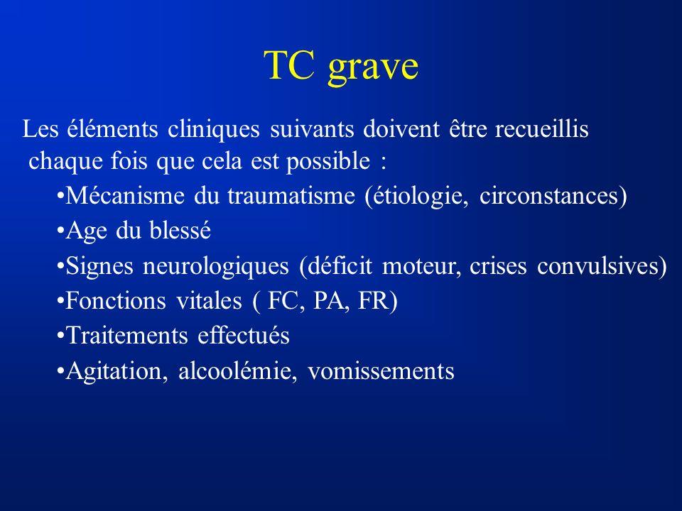 TC grave Les éléments cliniques suivants doivent être recueillis