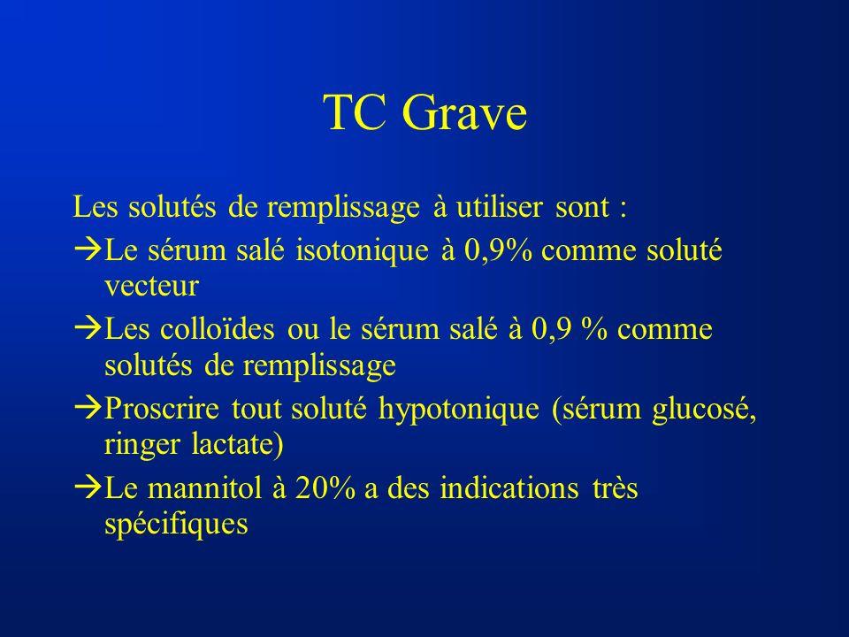 TC Grave Les solutés de remplissage à utiliser sont :