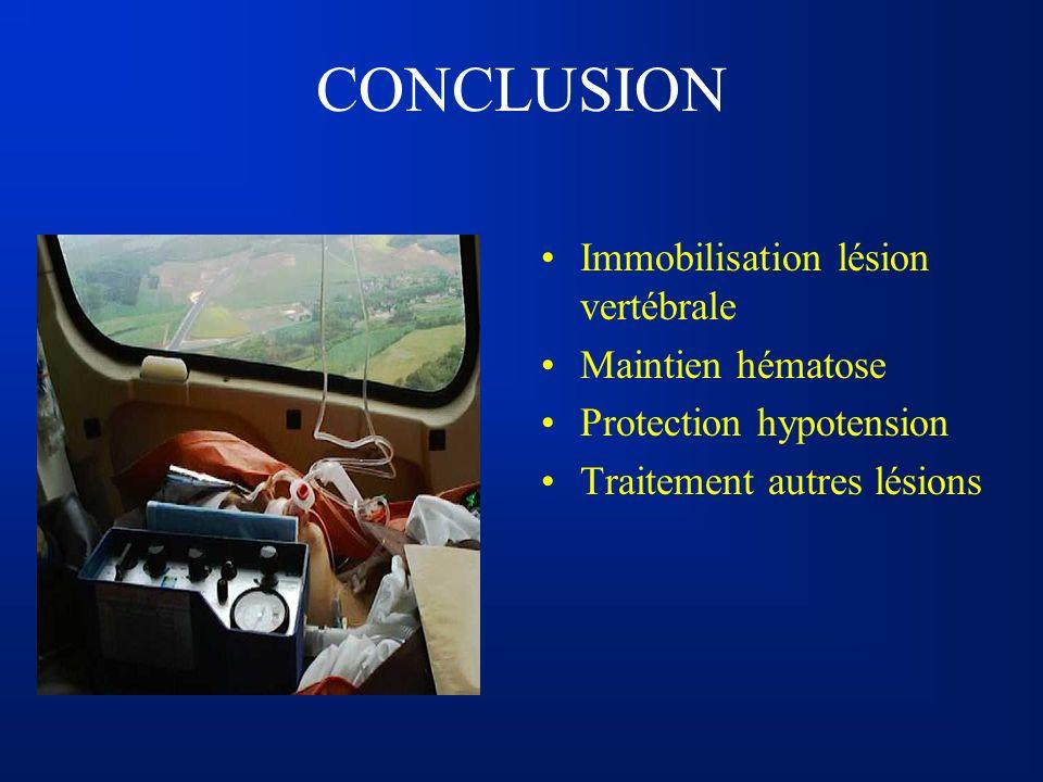 CONCLUSION Immobilisation lésion vertébrale Maintien hématose