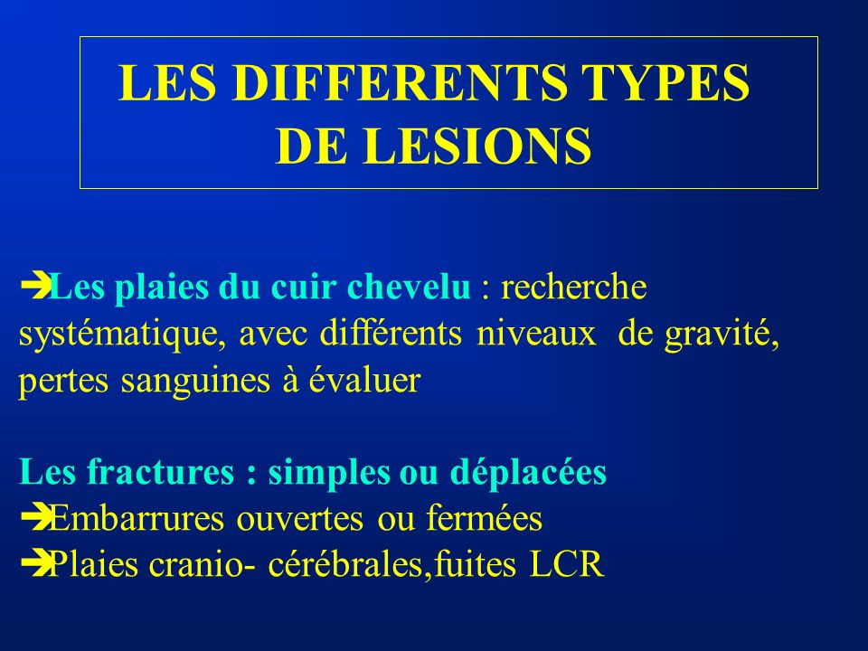 LES DIFFERENTS TYPES DE LESIONS