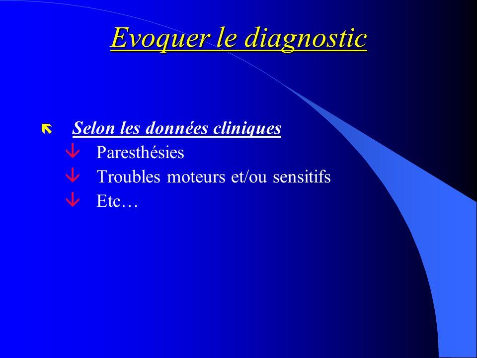 Evoquer le diagnostic Selon les données cliniques Paresthésies