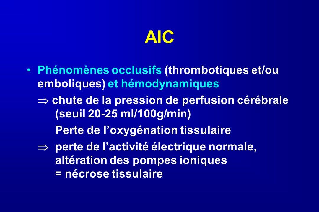 AICPhénomènes occlusifs (thrombotiques et/ou emboliques) et hémodynamiques.  chute de la pression de perfusion cérébrale (seuil 20-25 ml/100g/min)