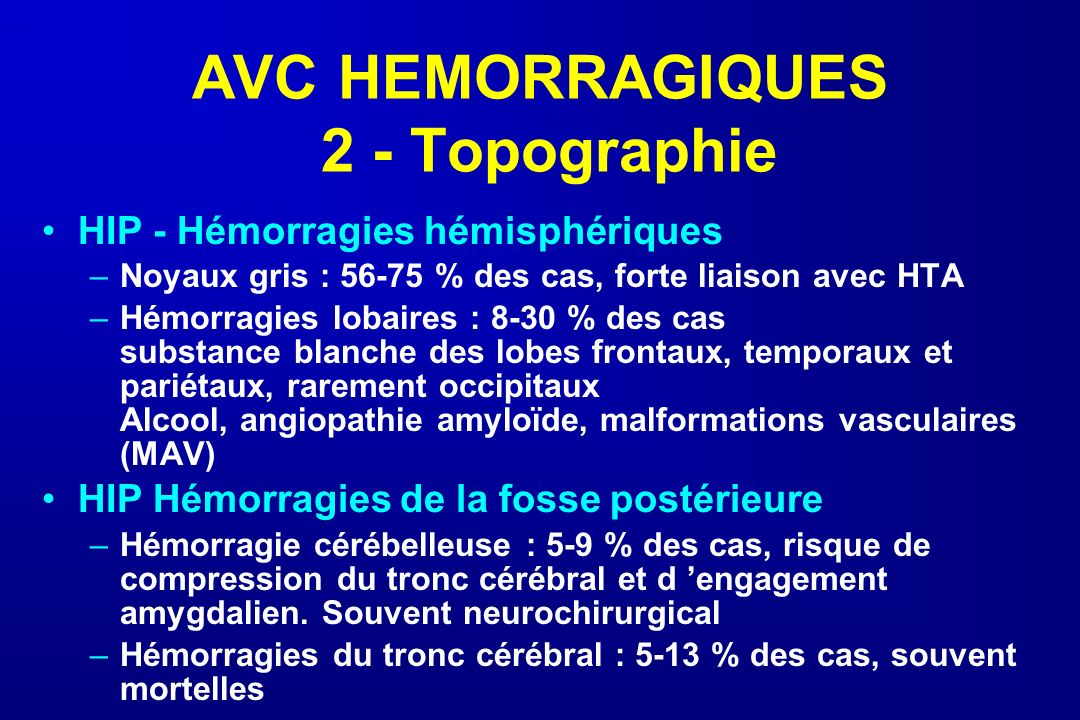AVC HEMORRAGIQUES 2 - Topographie