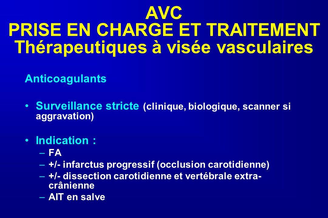 AVC PRISE EN CHARGE ET TRAITEMENT Thérapeutiques à visée vasculaires