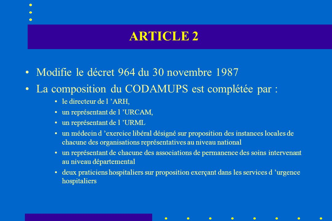 ARTICLE 2 Modifie le décret 964 du 30 novembre 1987