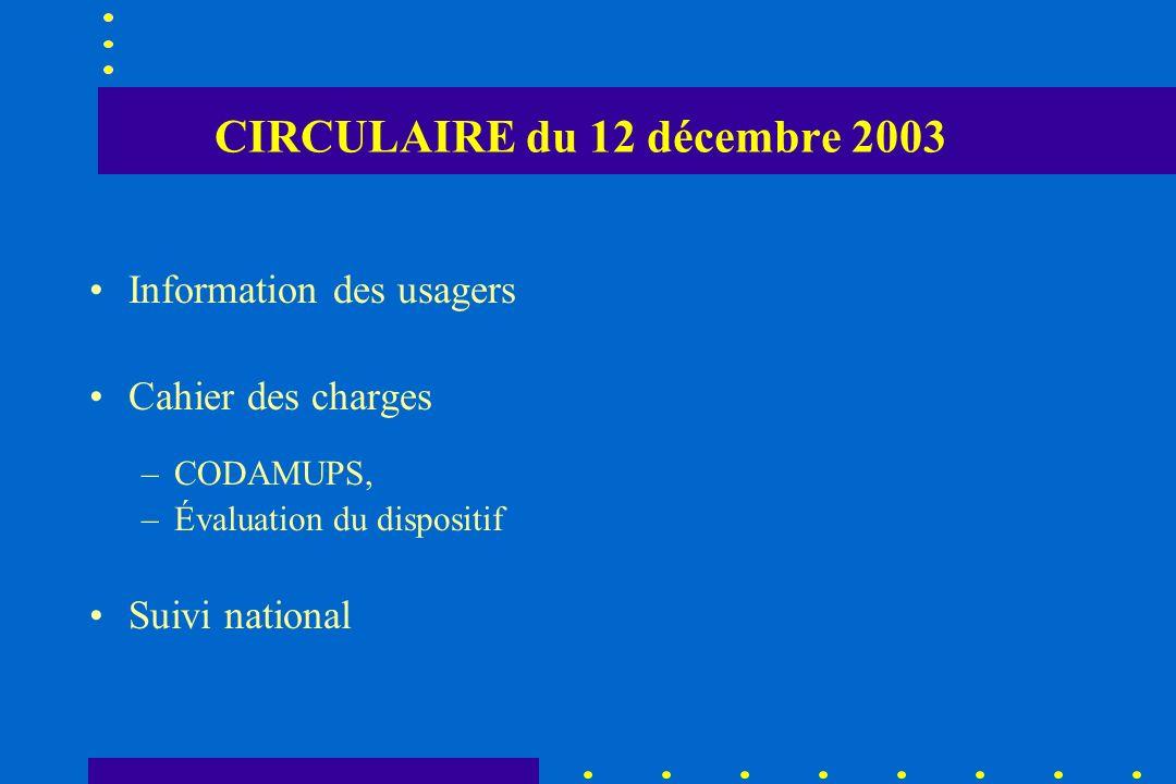 CIRCULAIRE du 12 décembre 2003