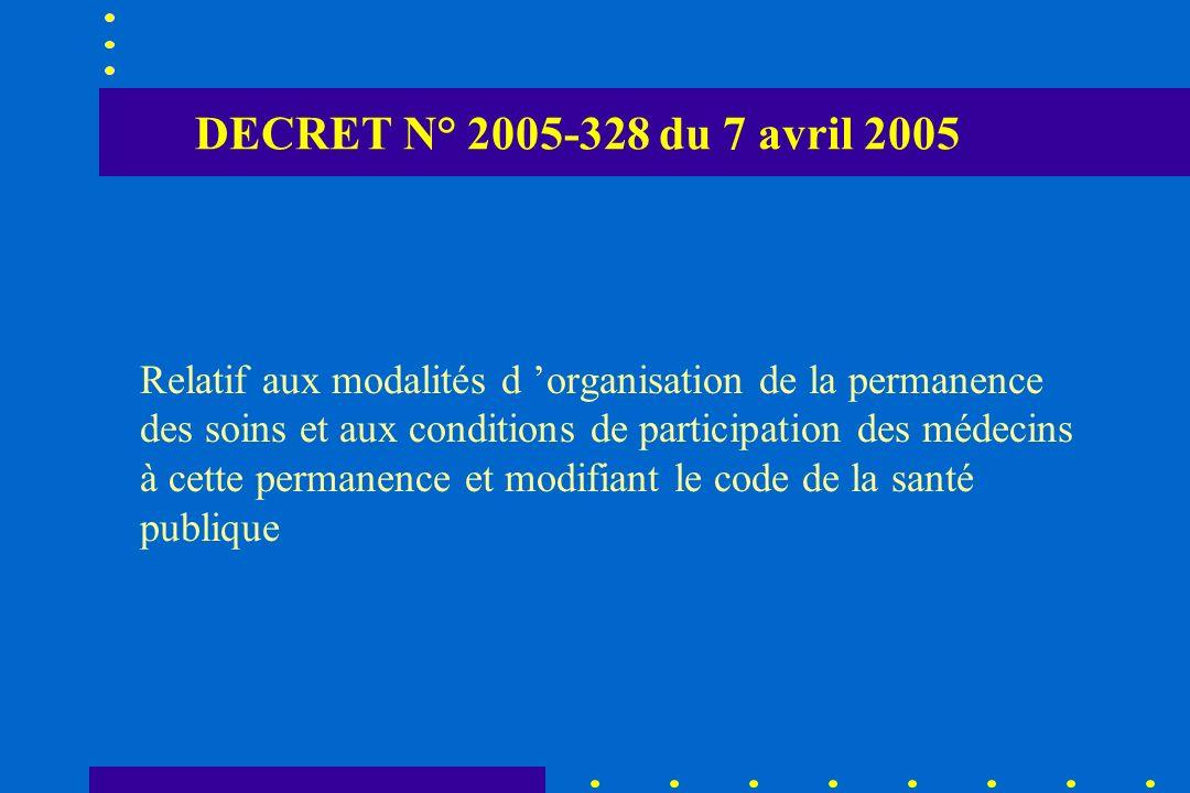 DECRET N° 2005-328 du 7 avril 2005