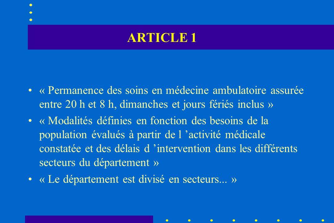 ARTICLE 1 « Permanence des soins en médecine ambulatoire assurée entre 20 h et 8 h, dimanches et jours fériés inclus »