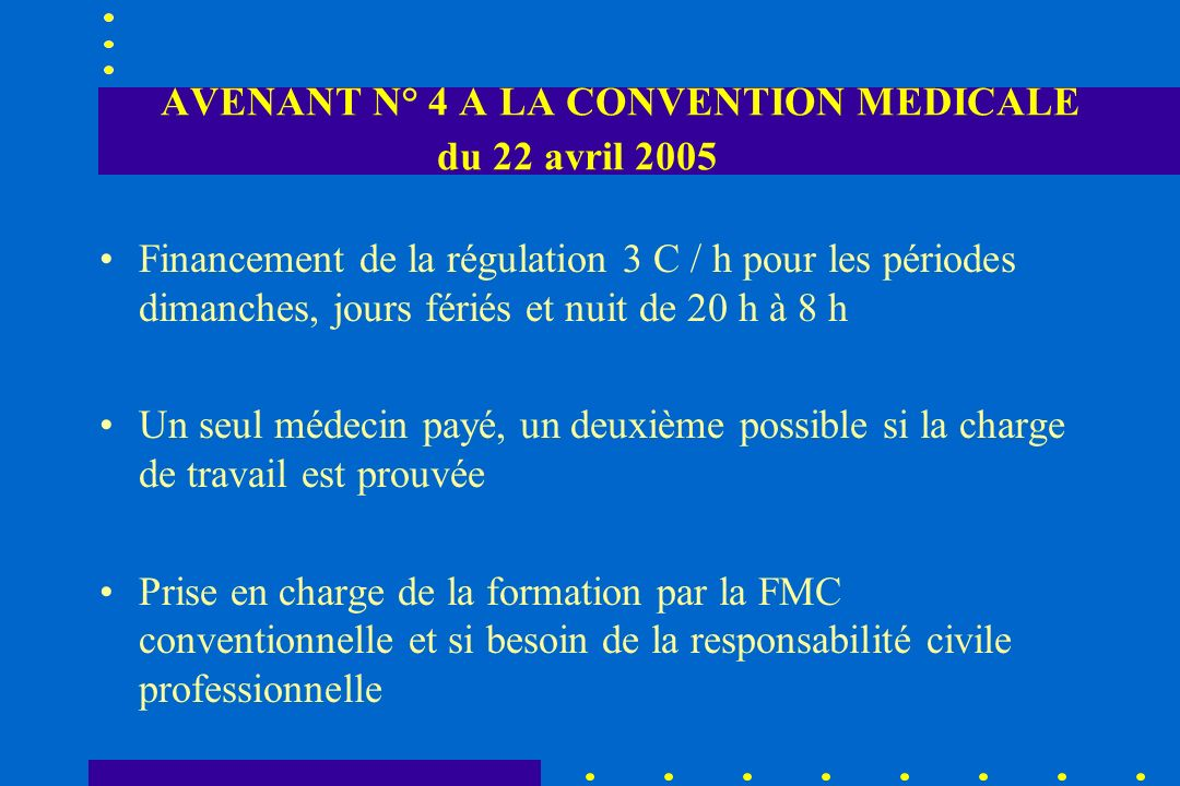 AVENANT N° 4 A LA CONVENTION MEDICALE du 22 avril 2005