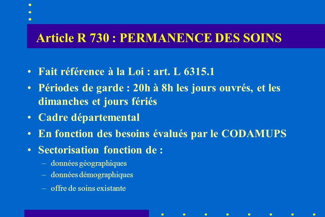 Article R 730 : PERMANENCE DES SOINS