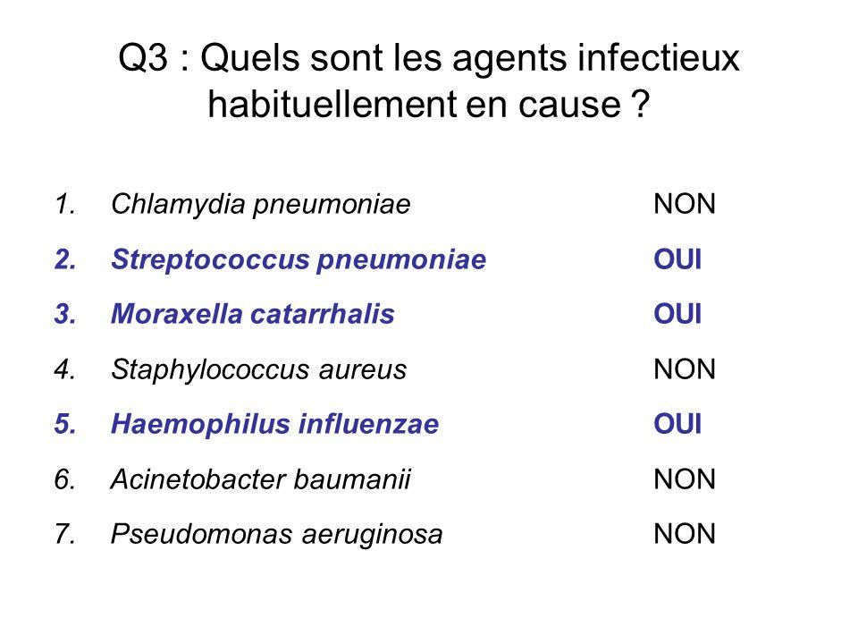 Q3 : Quels sont les agents infectieux habituellement en cause