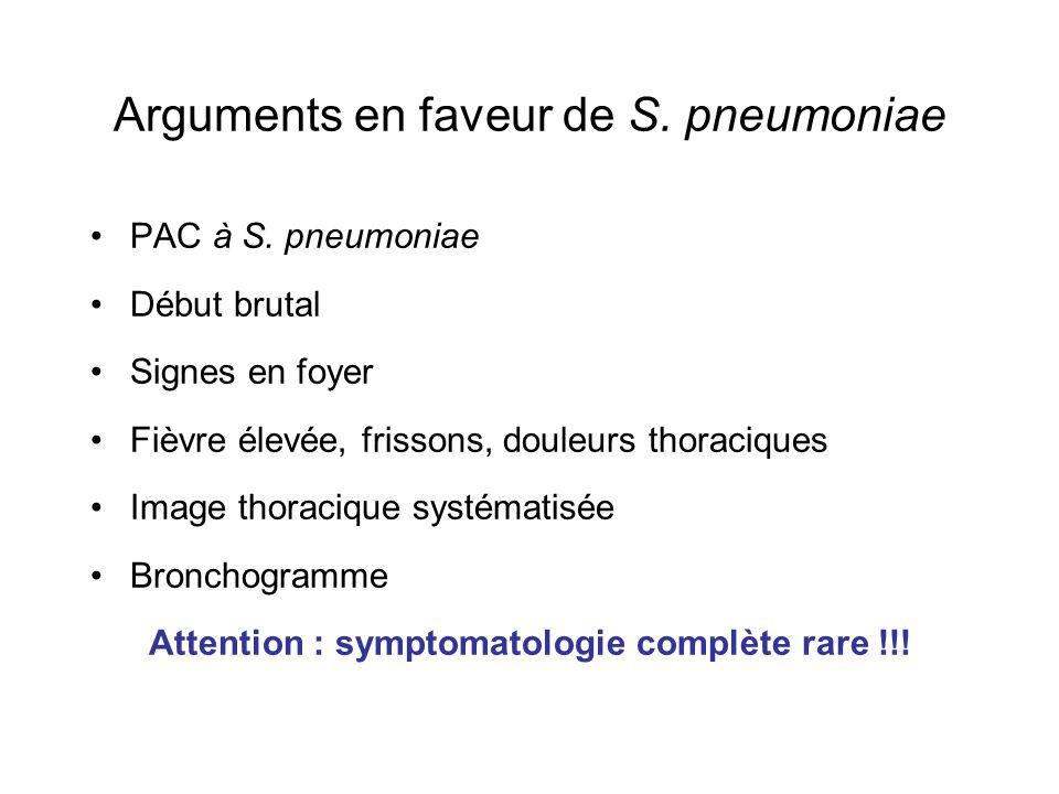 Arguments en faveur de S. pneumoniae
