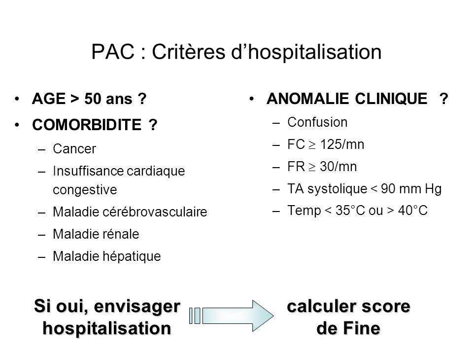 PAC : Critères d'hospitalisation