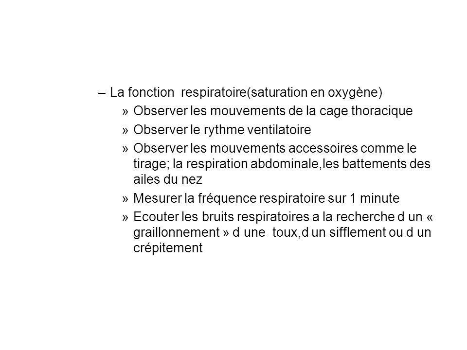 La fonction respiratoire(saturation en oxygène)