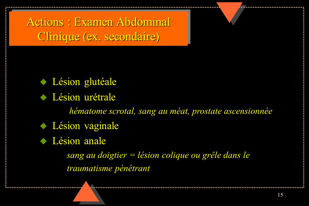 Actions : Examen Abdominal Clinique (ex. secondaire)