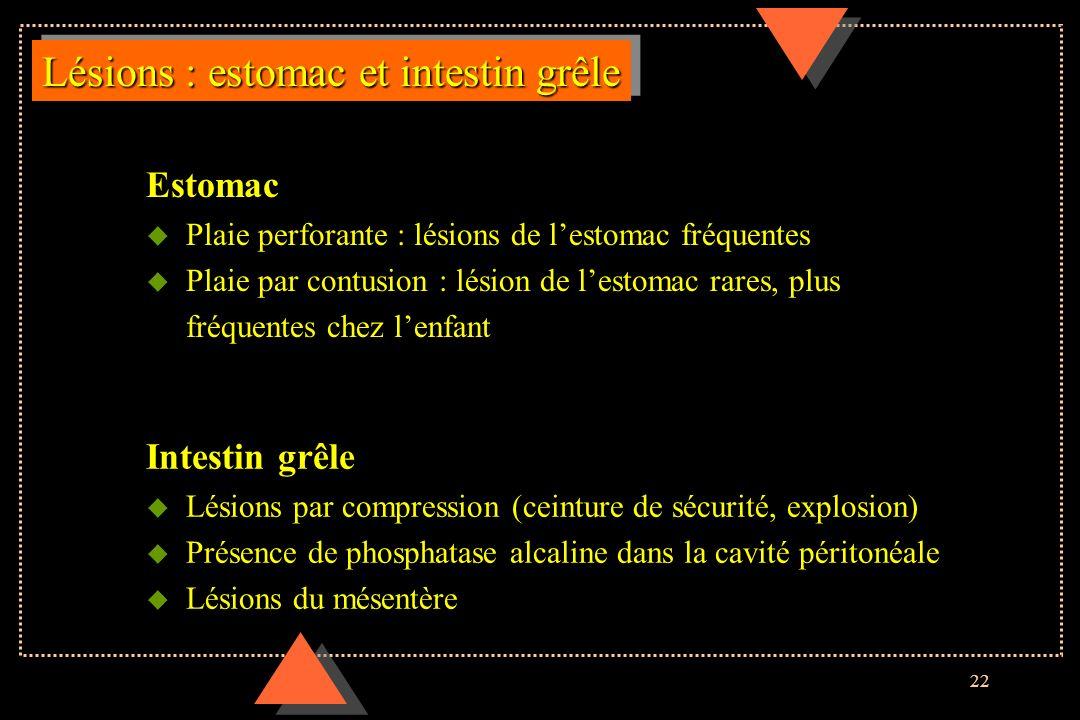 Lésions : estomac et intestin grêle