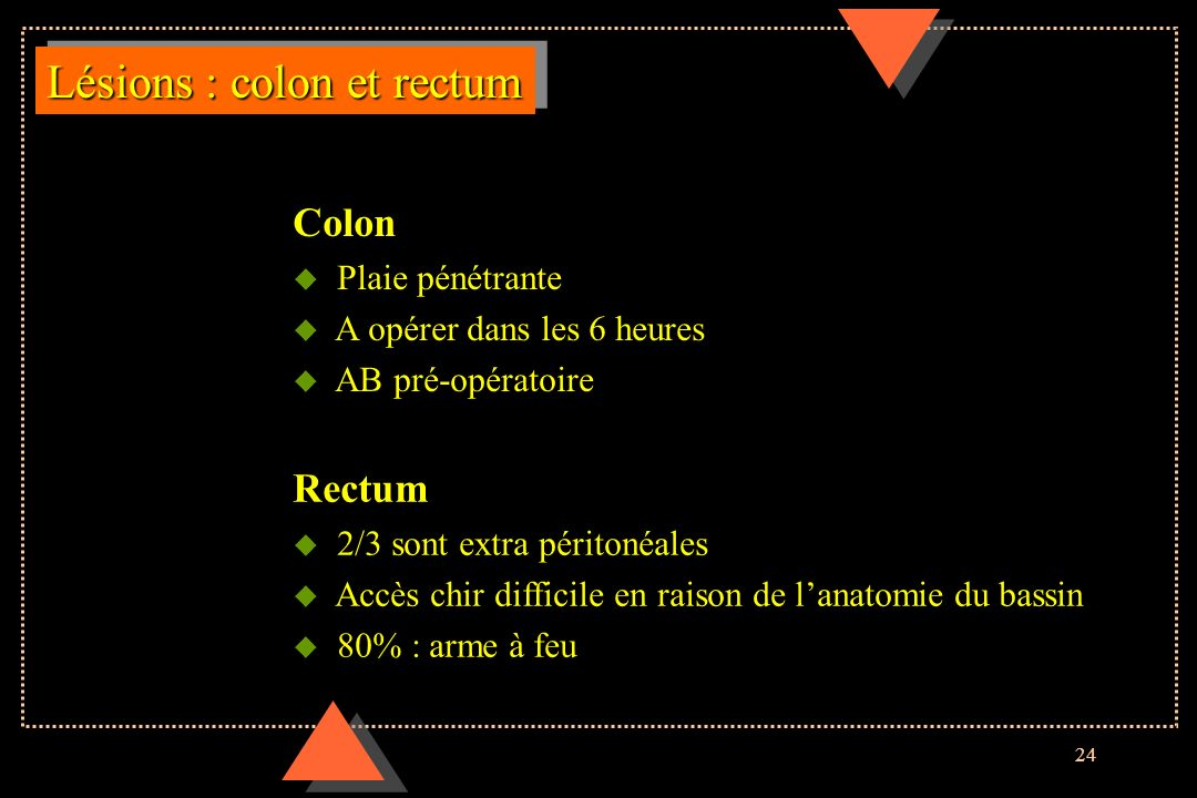 Lésions : colon et rectum