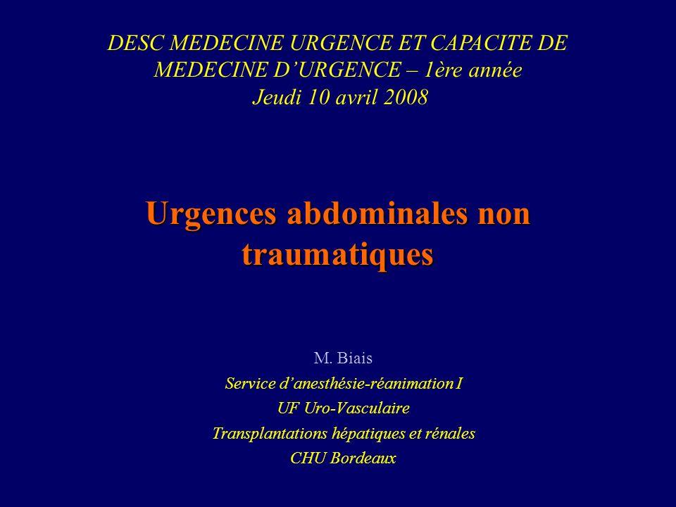 Urgences abdominales non traumatiques