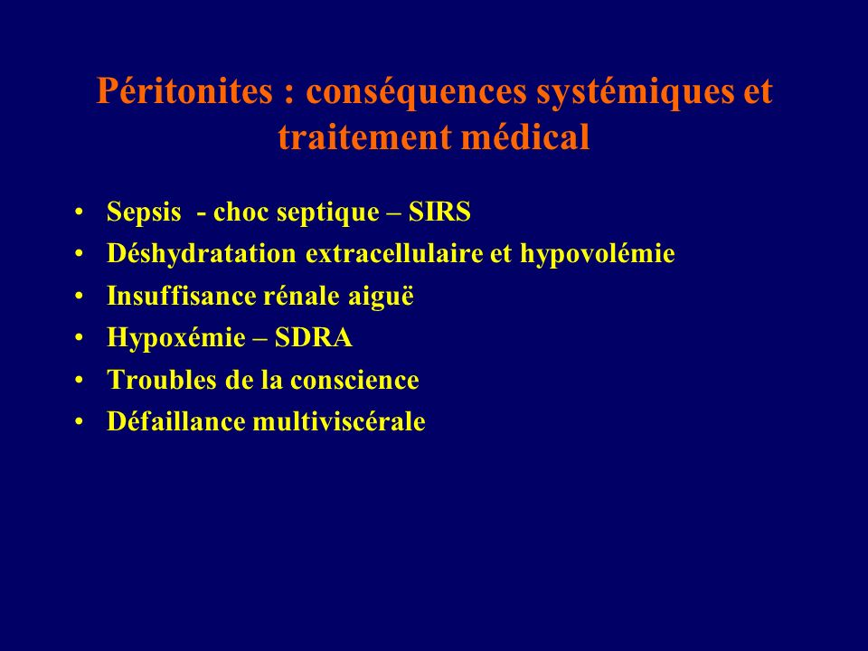 Péritonites : conséquences systémiques et traitement médical
