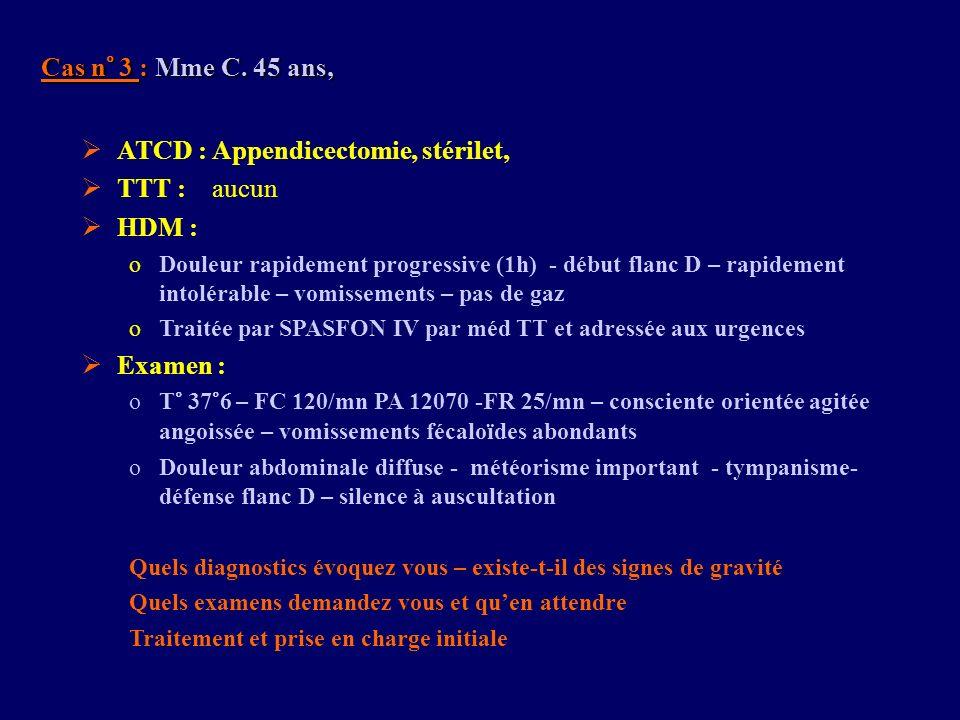 ATCD : Appendicectomie, stérilet, TTT : aucun HDM :