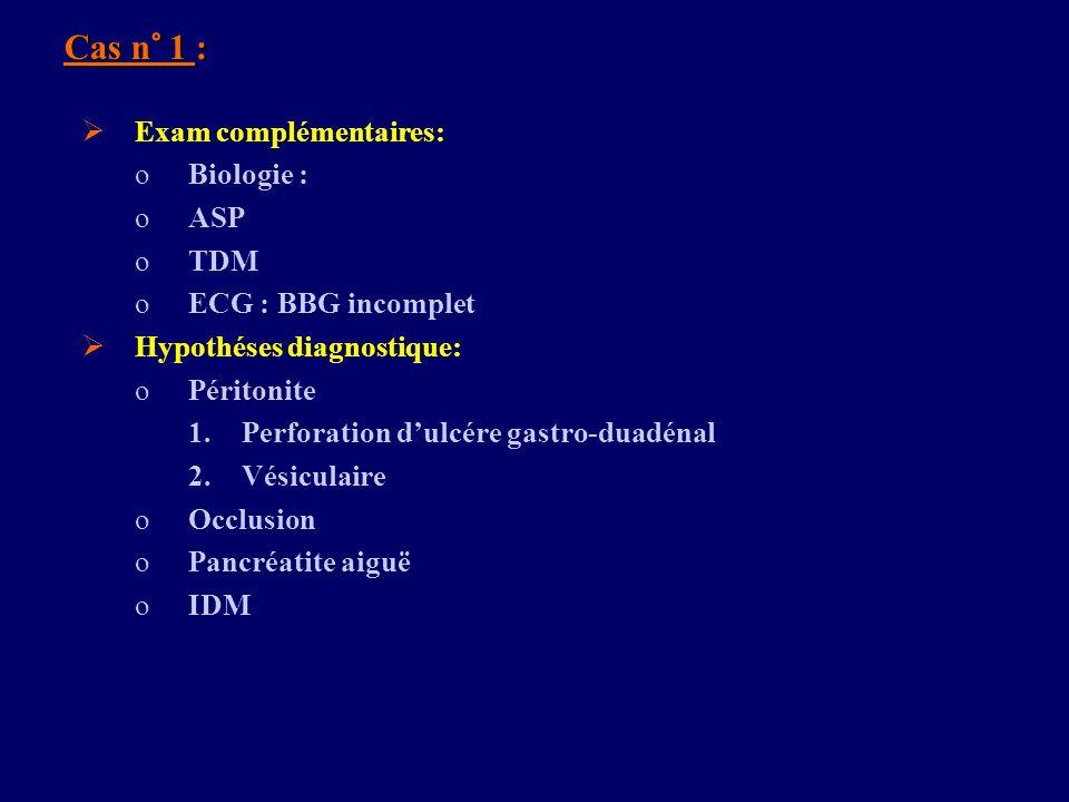Cas n° 1 : Exam complémentaires: Biologie : ASP TDM