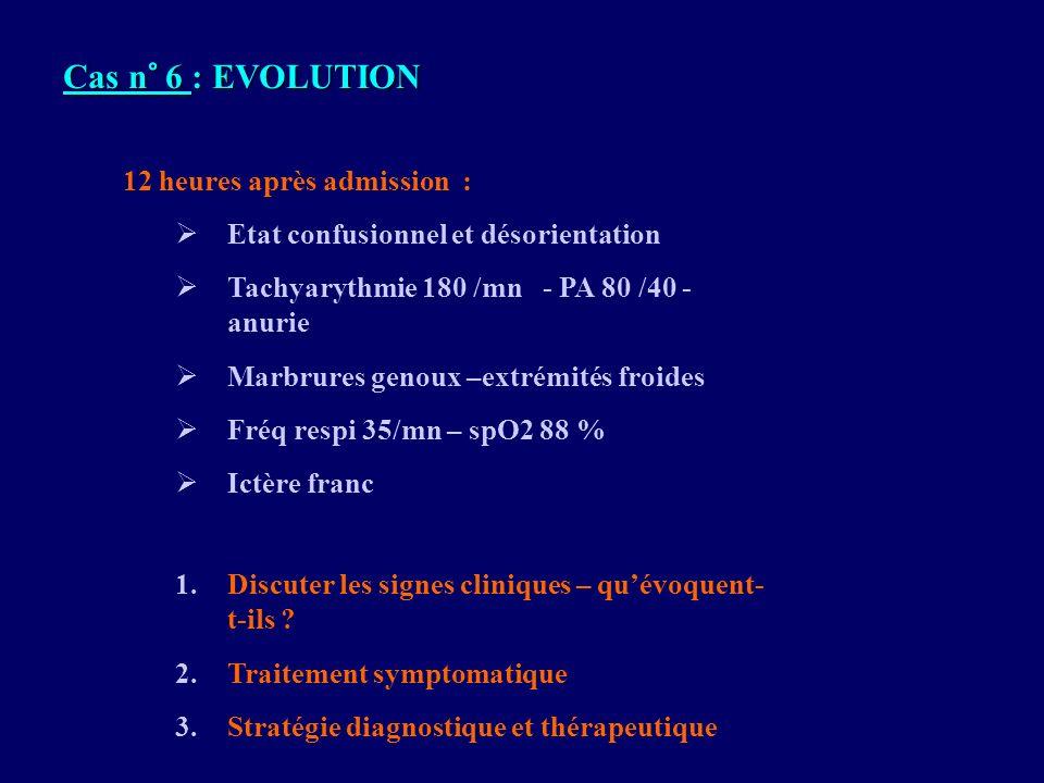 Cas n° 6 : EVOLUTION 12 heures après admission :