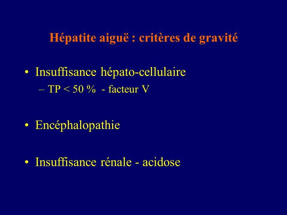 Hépatite aiguë : critères de gravité
