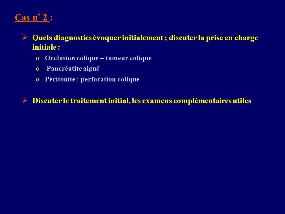 Cas n° 2 : Quels diagnostics évoquer initialement ; discuter la prise en charge initiale : Occlusion colique – tumeur colique.