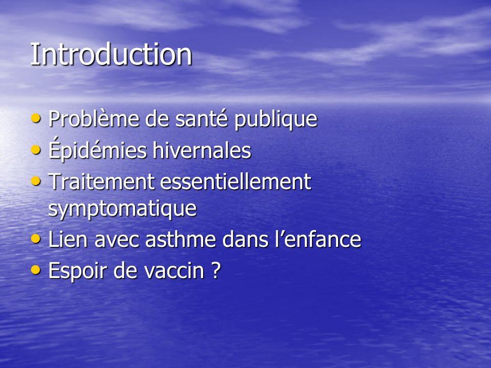Introduction Problème de santé publique Épidémies hivernales