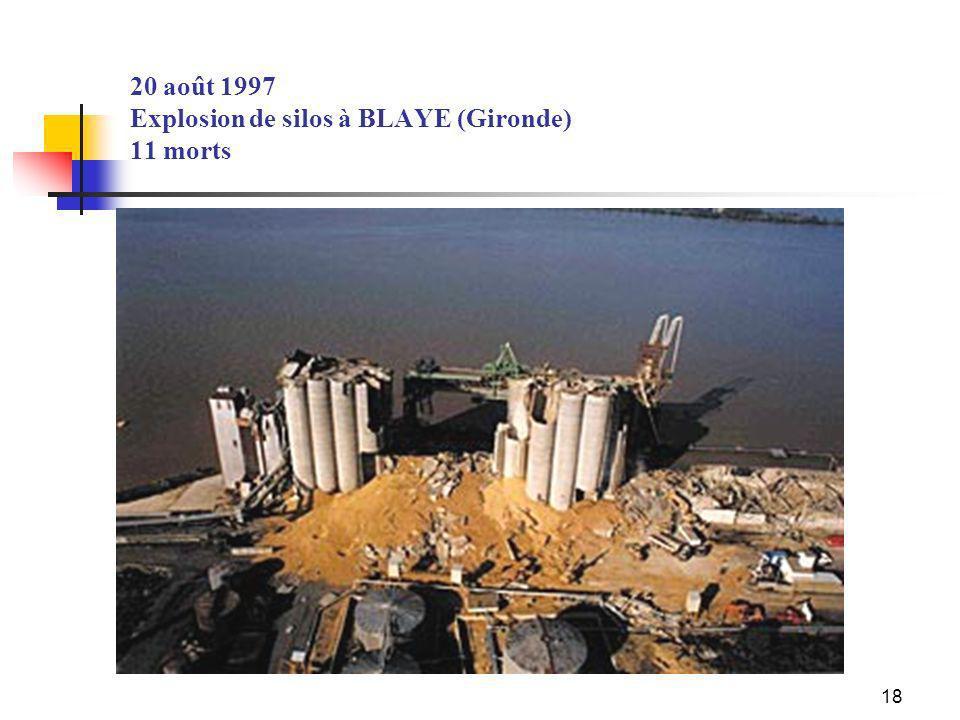 20 août 1997 Explosion de silos à BLAYE (Gironde) 11 morts
