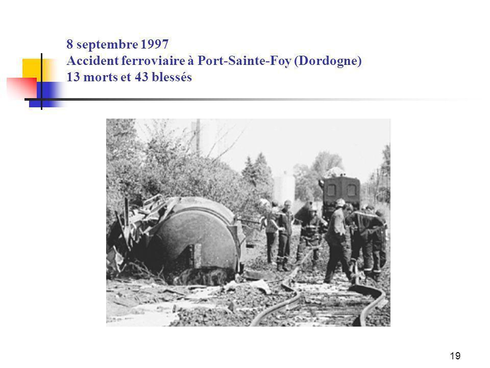 8 septembre 1997 Accident ferroviaire à Port-Sainte-Foy (Dordogne) 13 morts et 43 blessés