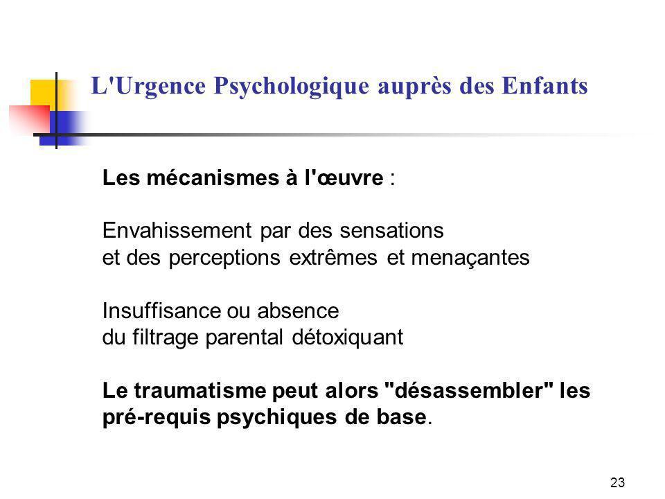 L Urgence Psychologique auprès des Enfants