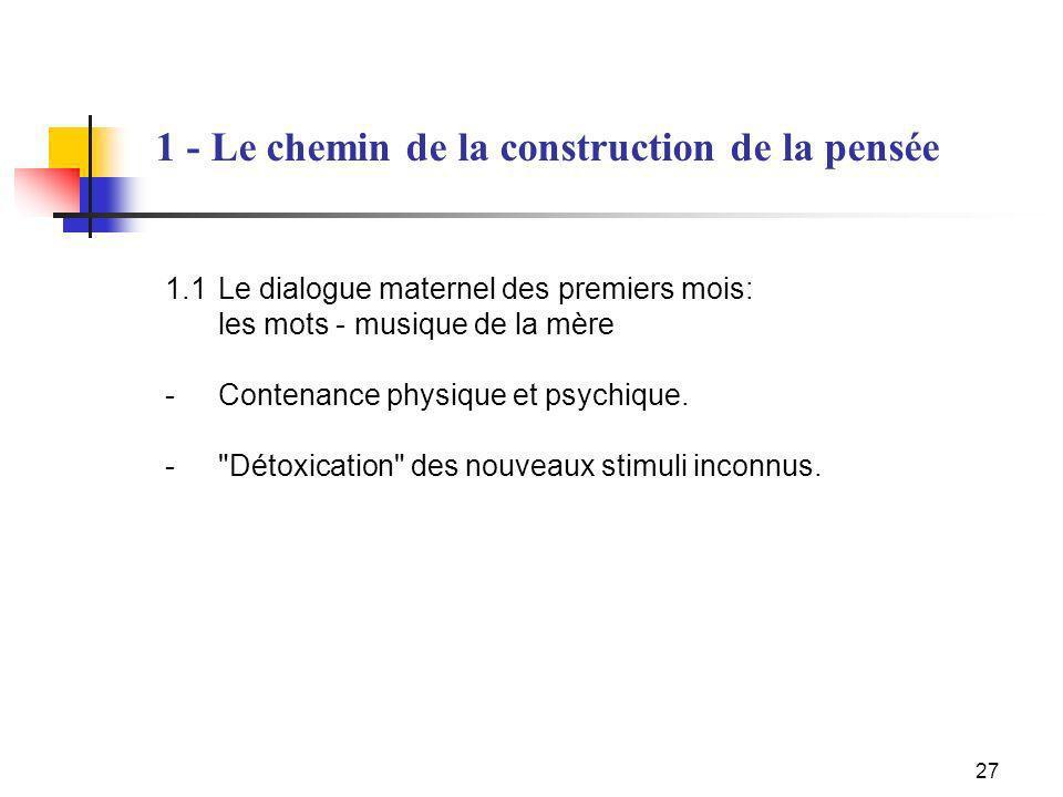 1 - Le chemin de la construction de la pensée
