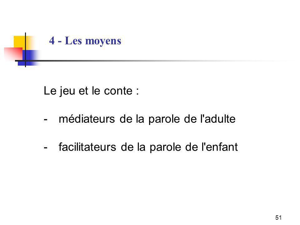 4 - Les moyens Le jeu et le conte : - médiateurs de la parole de l adulte - facilitateurs de la parole de l enfant.
