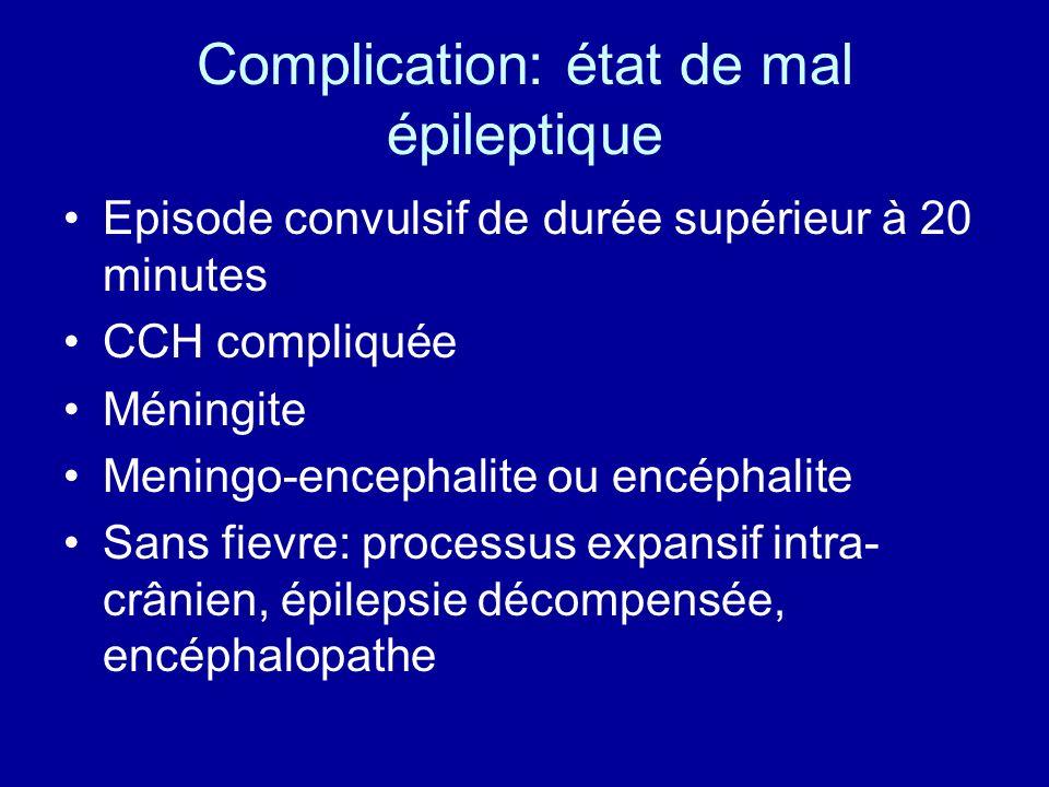 Complication: état de mal épileptique
