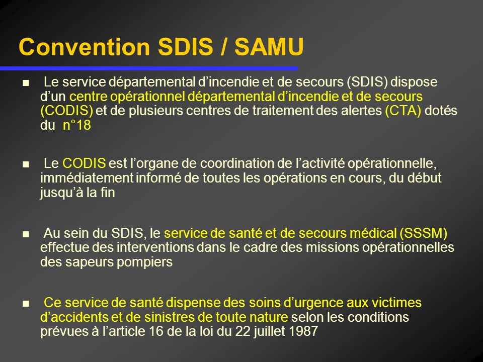 Convention SDIS / SAMU