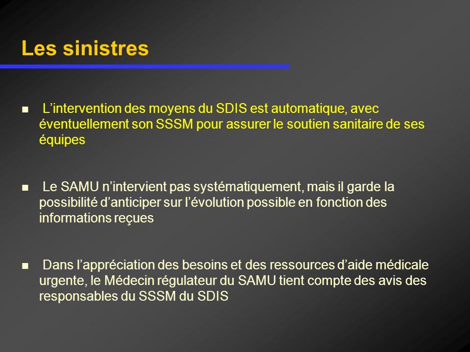 Les sinistres L'intervention des moyens du SDIS est automatique, avec éventuellement son SSSM pour assurer le soutien sanitaire de ses équipes.