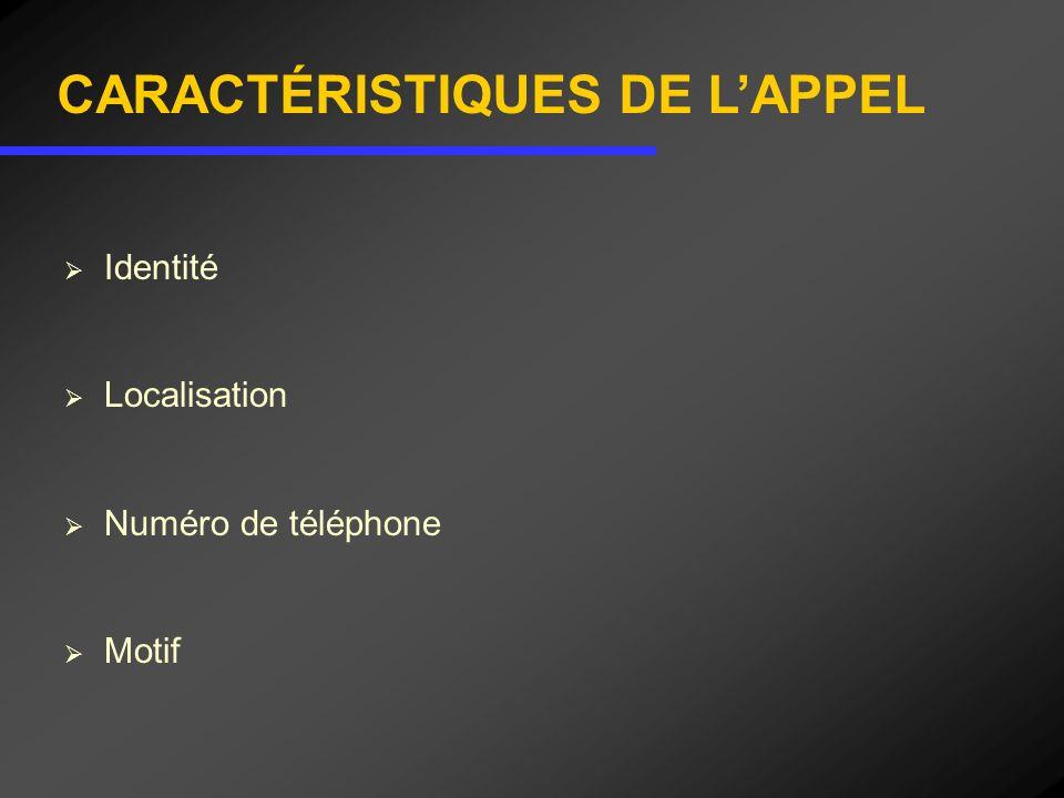 CARACTÉRISTIQUES DE L'APPEL