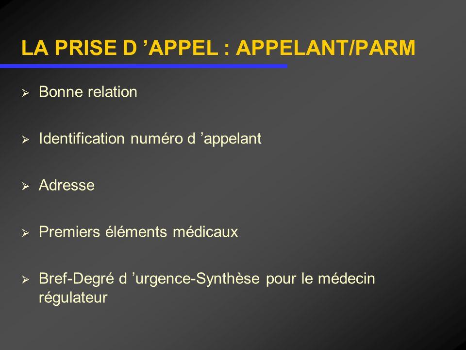 LA PRISE D 'APPEL : APPELANT/PARM