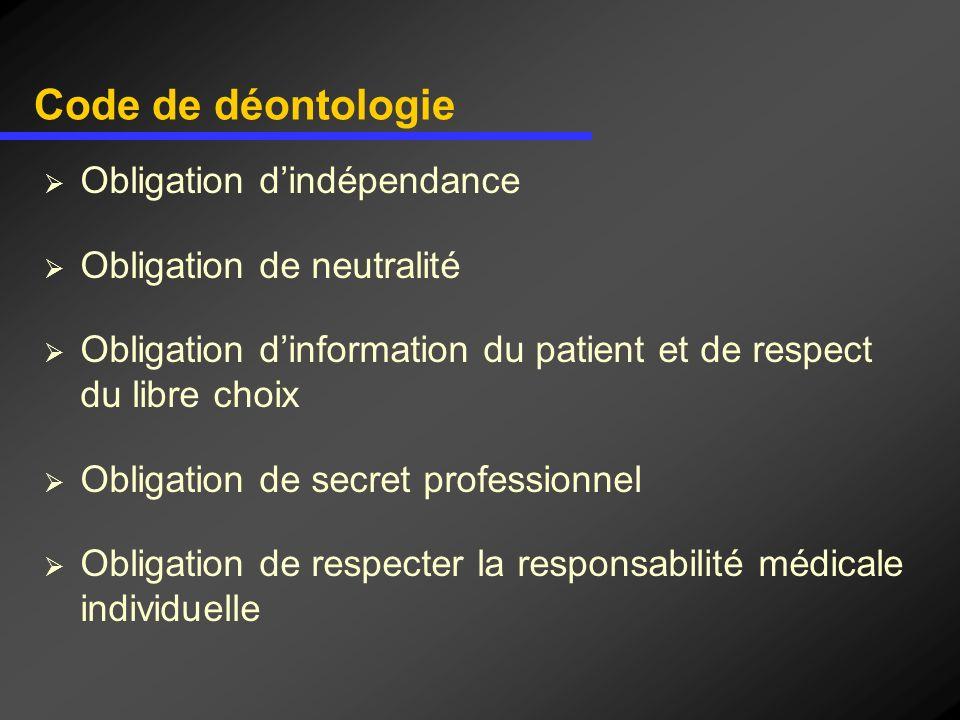 Code de déontologie Obligation d'indépendance Obligation de neutralité