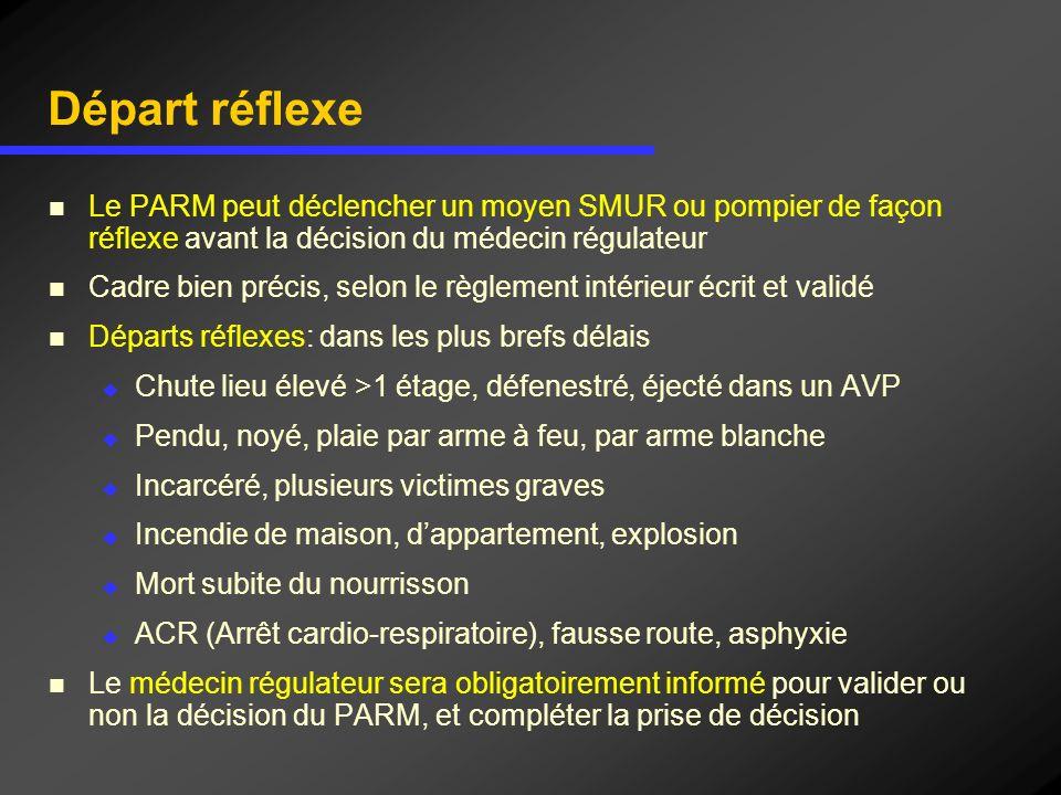Départ réflexe Le PARM peut déclencher un moyen SMUR ou pompier de façon réflexe avant la décision du médecin régulateur.