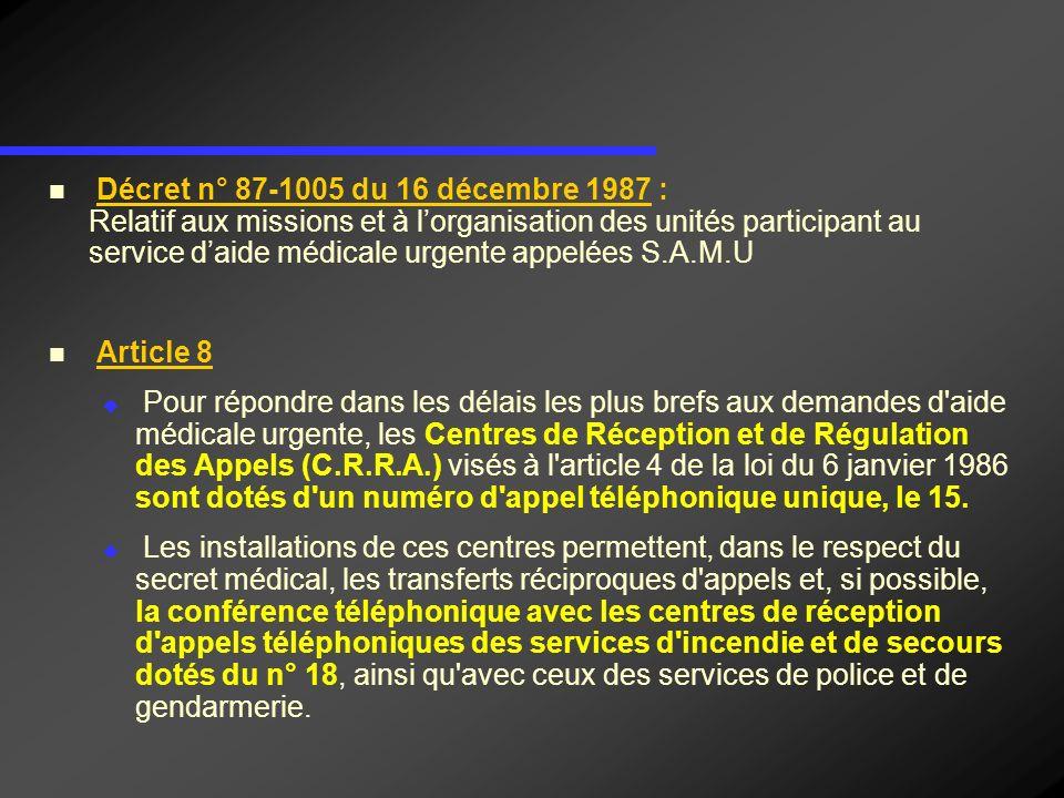 Décret n° 87-1005 du 16 décembre 1987 : Relatif aux missions et à l'organisation des unités participant au service d'aide médicale urgente appelées S.A.M.U