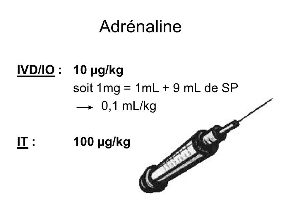 Adrénaline IVD/IO : 10 µg/kg soit 1mg = 1mL + 9 mL de SP 0,1 mL/kg