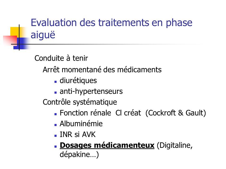 Evaluation des traitements en phase aiguë