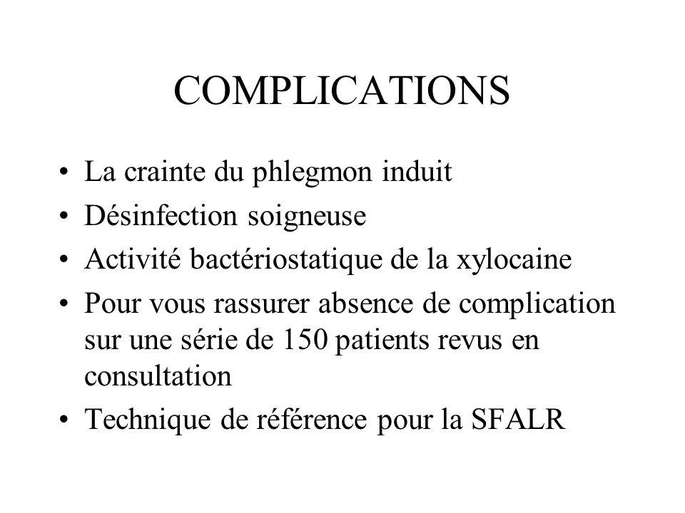 COMPLICATIONS La crainte du phlegmon induit Désinfection soigneuse